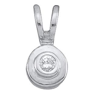 Round Diamond Solitaire Circle Pendant .03 Cttw 10KT