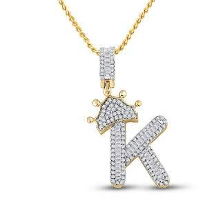 Baguette Diamond Crown K Letter Charm Pendant 5/8 Cttw