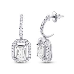 Emerald Diamond Dangle Earrings 1-1/4 Cttw 14KT White