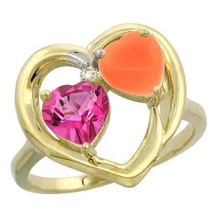1.31 CTW Pink Topaz & Diamond Ring 10K Yellow Gold -