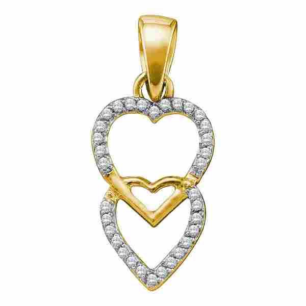 Round Diamond Double Heart Pendant 1/10 Cttw 10KT