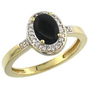 0.90 CTW Onyx & Diamond Ring 10K Yellow Gold -