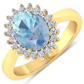 Natural 2.29 CTW Aquamarine & Diamond Ring 14K Yellow