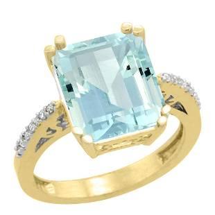 5.52 CTW Aquamarine & Diamond Ring 10K Yellow Gold -