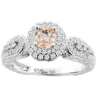 0.94 CTW Morganite & Diamond Ring 14K White Gold -