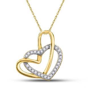 Round Diamond Heart Pendant 1/12 Cttw 10KT Yellow Gold