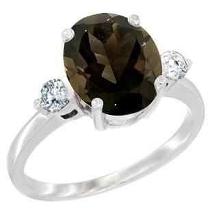 2.60 CTW Quartz & Diamond Ring 10K White Gold -