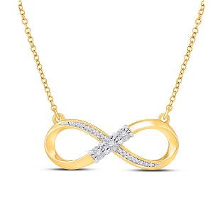 Round Diamond Infinity Necklace 1/20 Cttw 10KT Yellow