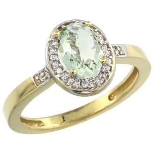 1.15 CTW Amethyst & Diamond Ring 14K Yellow Gold -