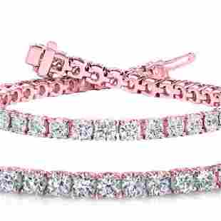Natural 10.02ct VS2-SI1 Diamond Tennis Bracelet 14K