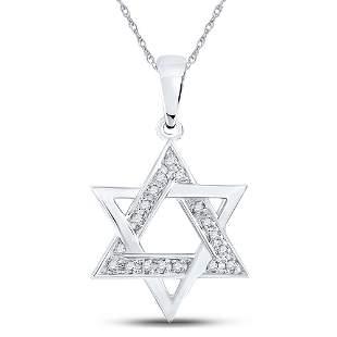 Round Diamond Star Magen David Jewish Pendant 1/10 Cttw