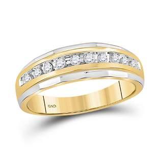 Round Diamond Wedding Band Ring 1/4 Cttw 10KT Two-tone