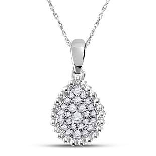 Round Diamond Teardrop Cluster Pendant 1/8 Cttw 10KT