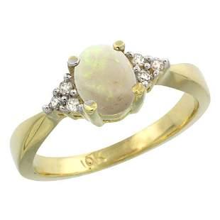 0.52 CTW Opal & Diamond Ring 10K Yellow Gold -