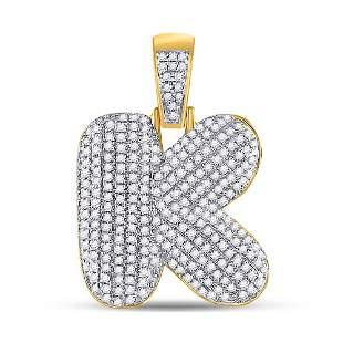 Round Diamond Bubble K Letter Charm Pendant 3/4 Cttw