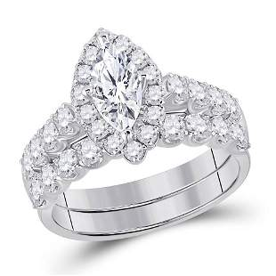 Bridal Wedding Ring Band Set 2 Cttw 14KT White Gold