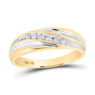 Round Diamond Wedding Band Ring 1/6 Cttw 10KT Two-tone