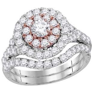 Diamond Bridal Wedding Ring Band Set 2 Cttw 14KT