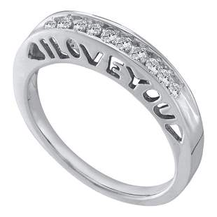 Round Diamond I Love You Band Ring 1/5 Cttw 10KT White