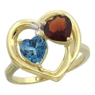 2.61 CTW Diamond, London Blue Topaz & Garnet Ring 14K