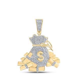 Round Diamond Moneybag Charm Pendant 1 Cttw 10KT Yellow