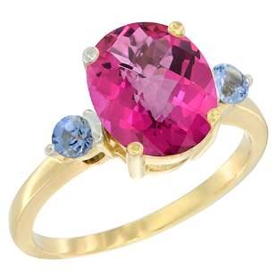 2.64 CTW Pink Topaz & Blue Sapphire Ring 14K Yellow