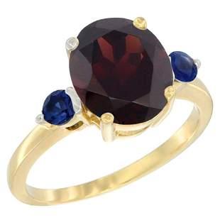 2.64 CTW Garnet & Blue Sapphire Ring 14K Yellow Gold -