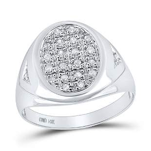 Round Diamond Oval Cluster Ring 1/4 Cttw 14KT White