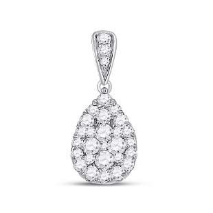 Round Diamond Teardrop Cluster Pendant 1/2 Cttw 14KT