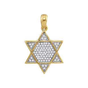 Round Diamond 6-Point Star Magen David Charm Pendant
