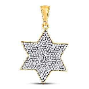 Round Diamond Star Magen David Charm Pendant 5/8 Cttw