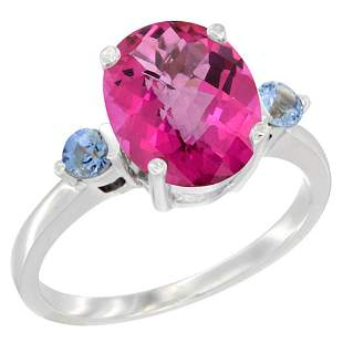 2.64 CTW Pink Topaz & Blue Sapphire Ring 14K White Gold