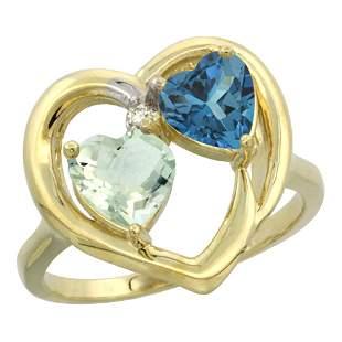 2.61 CTW Diamond, Amethyst & London Blue Topaz Ring 10K