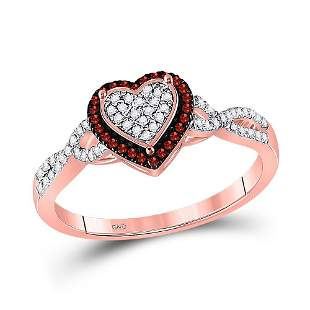 Round Red Color Enhanced Diamond Heart Cluster Twist