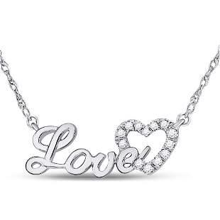 Round Diamond Love Heart Pendant Necklace 1/6 Cttw 10KT