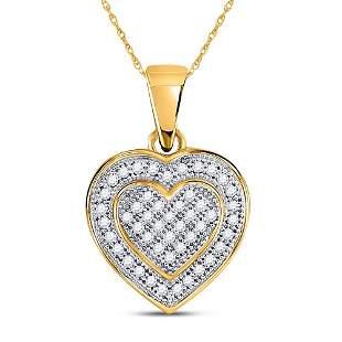 Round Diamond Layered Heart Cluster Pendant 1/6 Cttw