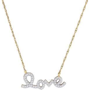Round Diamond Love Pendant Necklace 1/6 Cttw 10KT
