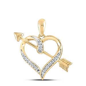 Round Diamond Heart Arrow Pendant 1/12 Cttw 10KT Yellow