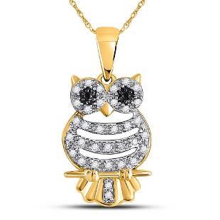 Diamond Owl Pendant 1/6 Cttw 10KT Yellow Gold