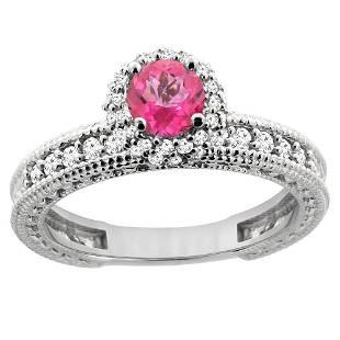 0.91 CTW Pink Topaz & Diamond Ring 14K White Gold
