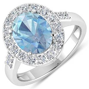 Natural 2.5 CTW Aquamarine & Diamond Ring 14K White