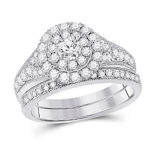 Diamond Bridal Wedding Ring Band Set 1 Cttw 10KT White