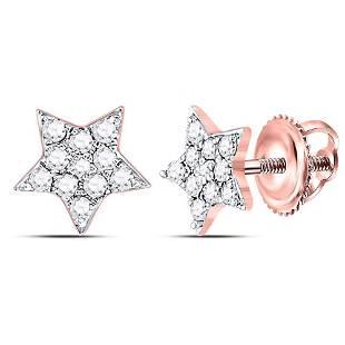Round Diamond Star Earrings 1/6 Cttw 10KT Rose Gold