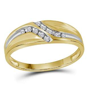 Round Diamond Wedding Band Ring 1/8 Cttw 14KT Yellow