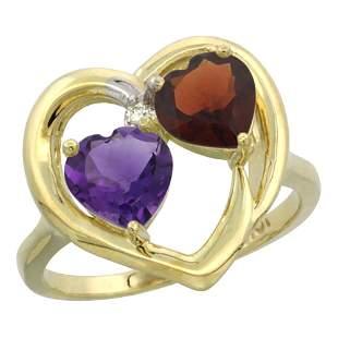 2.61 CTW Diamond, Amethyst & Garnet Ring 10K Yellow