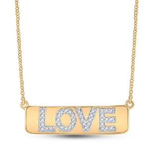 """Round Diamond Love Bar Pendant Necklace with 18"""" Chain"""