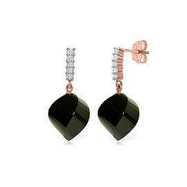 Genuine 31.15 ctw Black Spinel & Diamond Earrings 14KT