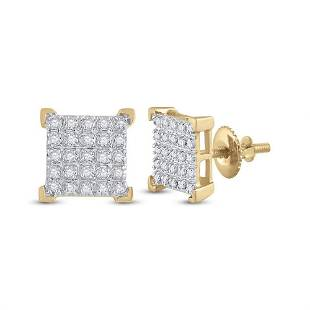 Round Diamond Square Earrings 1/6 Cttw 10KT Yellow Gold