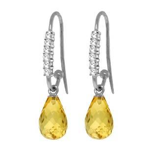 Genuine 4.68 ctw Citrine & Diamond Earrings 14KT White
