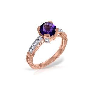 Genuine 1.80 ctw Amethyst & Diamond Ring 14KT Rose Gold